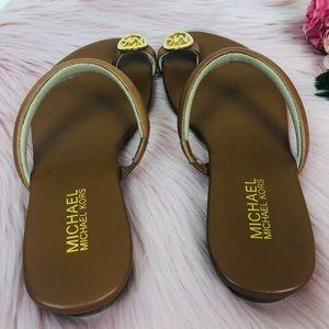 27b7709959c33f MICHAEL Michael Kors Shoes - Michael Kors Brown Gold Nora Toe Thong Sandal  7.5